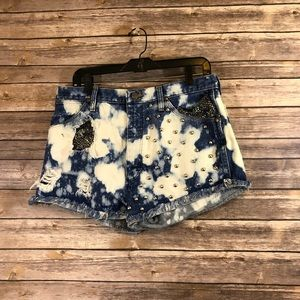 High waisted Distressed Bleached Studded Shorts